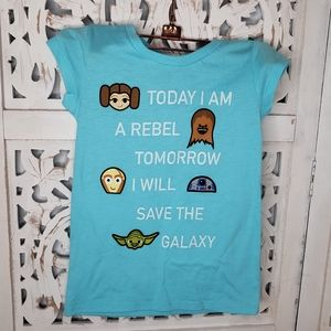 Star Wars Short Sleeve Turquoise Shirt Size Four